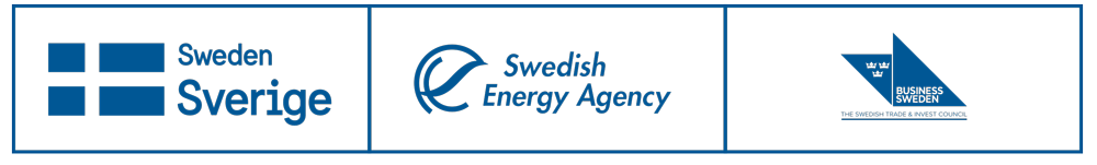 Logotypes for Sweden, the Swedish Energy Agency and Business Sweden.